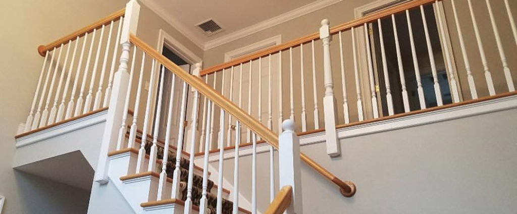 Indoor painting service, painting spindles semi gloss white